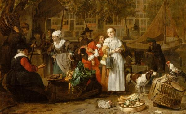 "Gabriel Metsu's early works depict rustic or Biblical scenes created in his hometown of Leiden. Once he moved to Amsterdam, he depicted more cosmopolitan scenes to meet the tastes of the city's sophisticated art market. Above, <em>Vegetable Market in Amsterdam</em>, c. 1657-1661. <a href=""http://media.npr.org/assets/artslife/arts/2011/04/metsu_custom.jpg"">Click here to see the full painting.</a>"