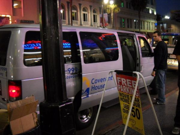 The Covenant House van sits on Hollywood Boulevard. The non-profit organization makes nightly drives up and down the streets of Hollywood and hands out water, food and blankets.