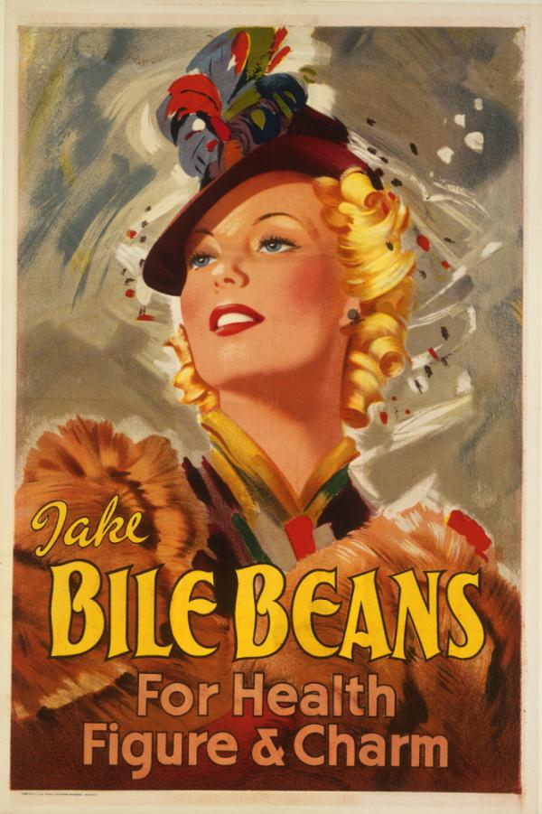 Nothing says glamor like this 40s era ad for Bile Beans, a laxative remedy for all kinds of complaints. It contained aloin, an aloe extract no longer considered safe, as well as peppermint oil, cardamom and wheat flour.