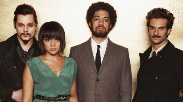 Left to right: Jack White, Norah Jones, Danger Mouse (a.k.a. Brian Burton), Daniele Luppi. <em>Rome</em> comes out May 17.