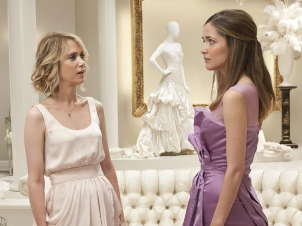 Kristin Wiig and Rose Byrne square off in a bridal shop, minutes before an unfortunate food poisoning episode.