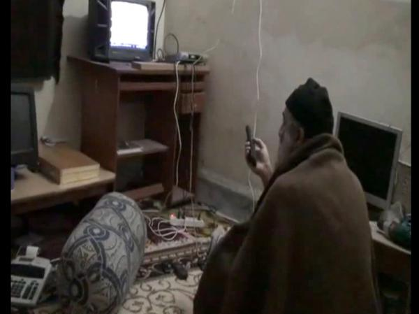 Among the evidence seized at bin Laden's compound were videos — including one showing the al-Qaida leader watching TV. The Pentagon released this image from one of the videos on May 7, 2011.