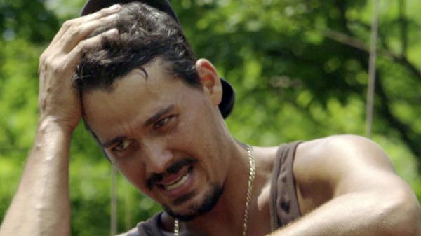 "Rob Mariano, during  the immunity challenge,  ""Step On Up,"" during last week's <em>Survivor</em>."