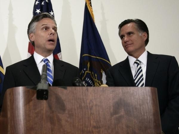 Former Utah Gov. Jon Huntsman and former Republican presidential hopeful and former Massachusetts Gov. Mitt Romney speak to the media in Salt Lake City, Utah. Both men are part of the Mormon faith.