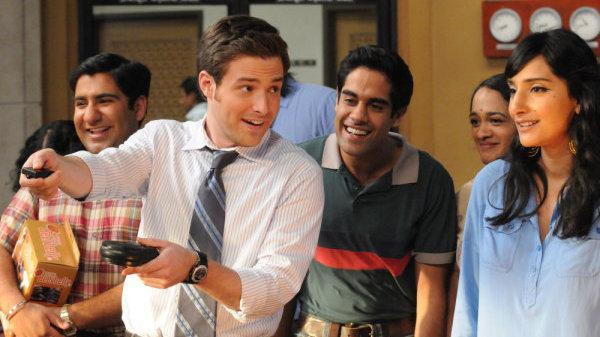 Ben Rappaport as Todd Dempsy and Sacha Dhawan as Manmeet on NBC's <em>Outsourced</em>.