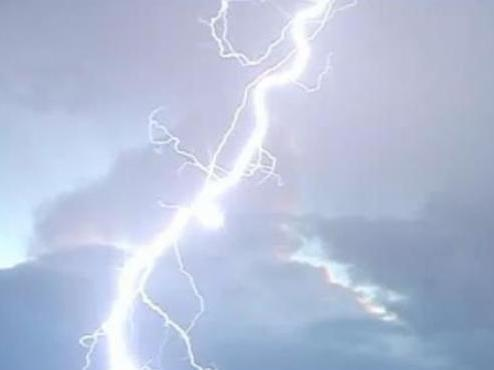 A Quantas jet was hit by this lightning strike in 2004. The plane landed safely.