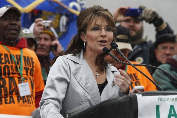Former Alaska Gov. Sarah Palin speaks at a Tea Party rally in Madison, Wisconsin.