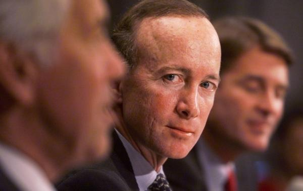Mitch Daniels, then-nominee for director of the Office of Management and Budget, sits at his confirmation hearing with the Governmental Affairs Committee in January 2001.