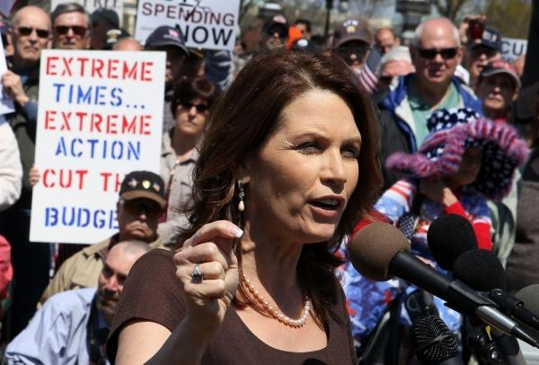 U.S. Rep. Michele Bachmann (R-MN) speaks during a rally on Capitol Hill.