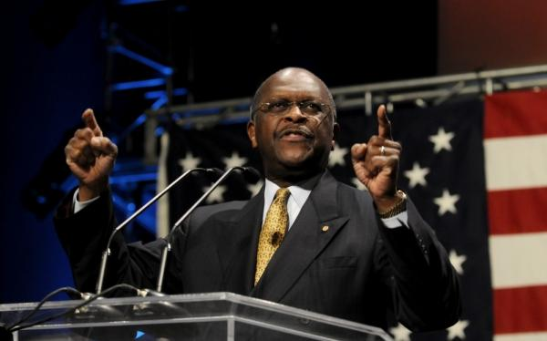 Potential GOP presidential candidate Herman Cain, speaks at the Iowa Faith & Freedom Coalition event in Waukee, Iowa.