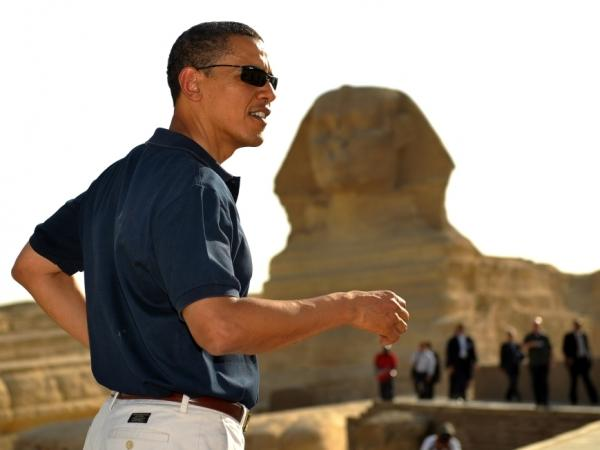President Barack Obama tours the Great Pyramids of Giza following a landmark speech to the Muslim World in 2009. The President is expected to address the Middle East again in the upcoming days.