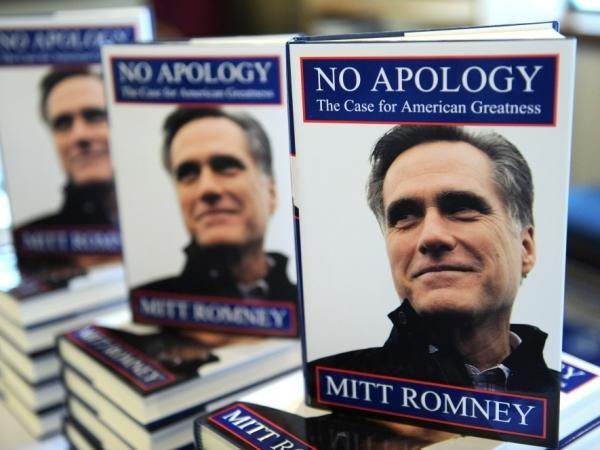 Copies of Mitt Romney's book, <em>No Apology: The Case for American Greatness</em>, are stacked for display. Romney and other GOP hopefuls have argued that a strong leader on the international stage will come from the Republican Party.
