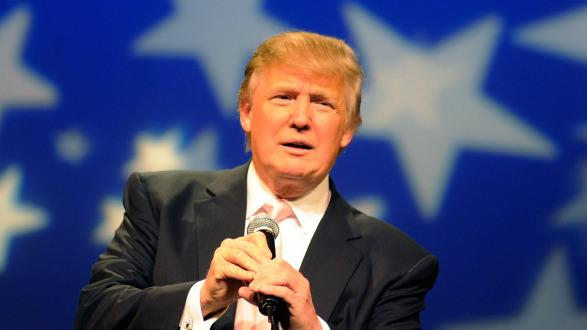 Donald Trump, seen here in April, announced to TV journalists today that he will not be running for President.