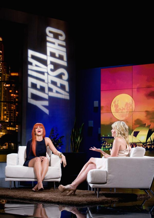 Chelsea Handler interviews Rihanna on an episode of her show <em>Chelsea Lately</em> broadcast from Sydney, Australia.