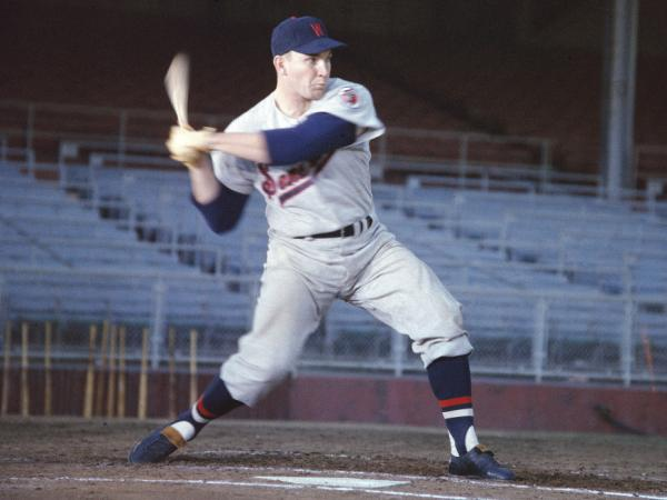 Harmon Killebrew takes a swing during batting practice in 1957, when he played for the Washington Senators.