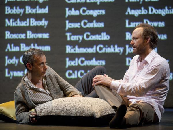 Joe Mantello as Larry Kramer's alter-ego Ned Weeks and John Benjamin Hickey as Felix Turner in the revival of <em>The Normal Heart</em> on Broadway.