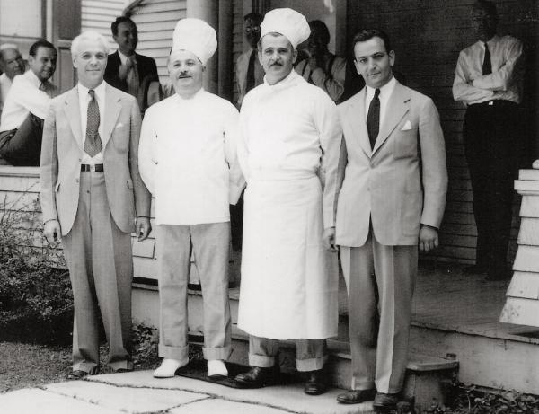 From left: Brothers and Boyardee co-founders Paul, Hector and Mario Boiardi, pictured with company secretary Carl Columbi at Boyardee headquarters in Milton, Pa.