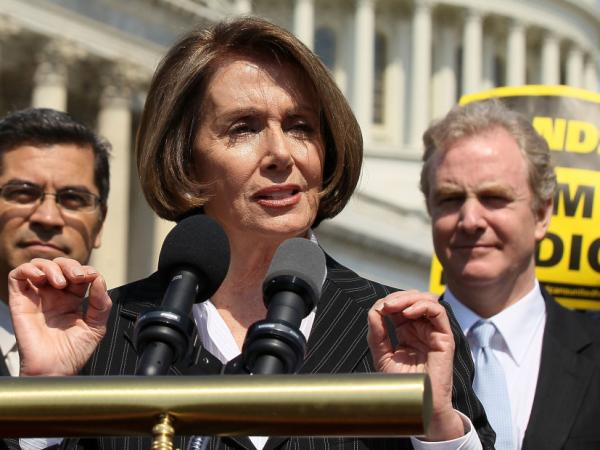 House Minority Leader Nancy Pelosi (D-CA), shown with Reps. Xavier Becerra (D-CA, left) and Chris Van Hollen (D-MD), speaks at a news conference last month on Capitol Hill. Pelosi says the Republicans' Medicare plan is a political boon to her party.