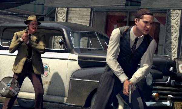 Players of the game L.A. Noire are represented by Cole Phelps (right), who has to find clues to solve a complex crime case in 1940s Los Angeles.