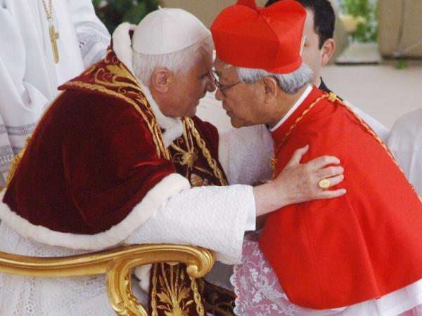 Cardinal Joseph Zen Ze-kiun, Archbishop of Hong Kong, receives the biretta cap from Pope Benedict XVI , March 24, 2006. Ze-kiun has criticized the Chinese government in its handling of Christians.