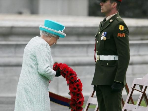 Queen Elizabeth II lays a wreath of poppy flowers at the Irish War Memorial Garden in Islandbridge on May 18, 2011 in Dublin, Ireland. The Queen's visit to Ireland is the first by a British monarch since 1911.