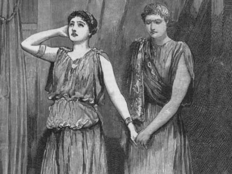 Students perform <em>Alcestis </em>at Queen's College in London, circa 1917.