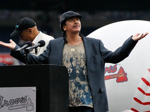 ATLANTA, GA - MAY 15:  Musician Carlos Santana prior to receiving the MLB Beacon Awards at the Civil Rights game between the Atlanta Braves and the Philadelphia Phillies at Turner Field  in Atlanta, Georgia.