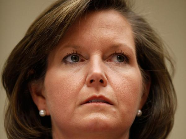 FCC Commissioner Meredith Attwell Baker testifies at a hearing in March in Washington, DC. Baker announced last week that she would leave her FCC position to become the chief lobbyist for Comcast/NBCUniversal, a merger she voted for.