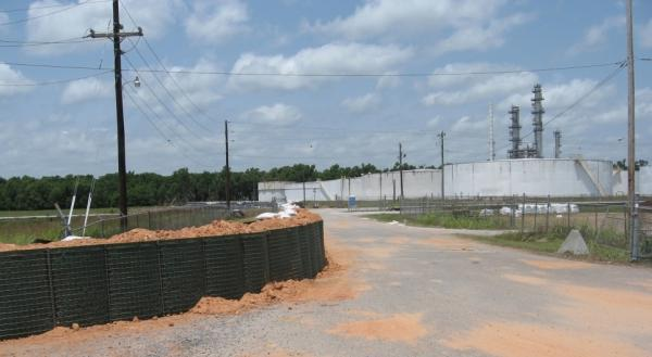 The National Guard constructed a 2-mile temporary levee around the ALON USA refinery in Krotz Springs, La., and a neighborhood on the south side of town.