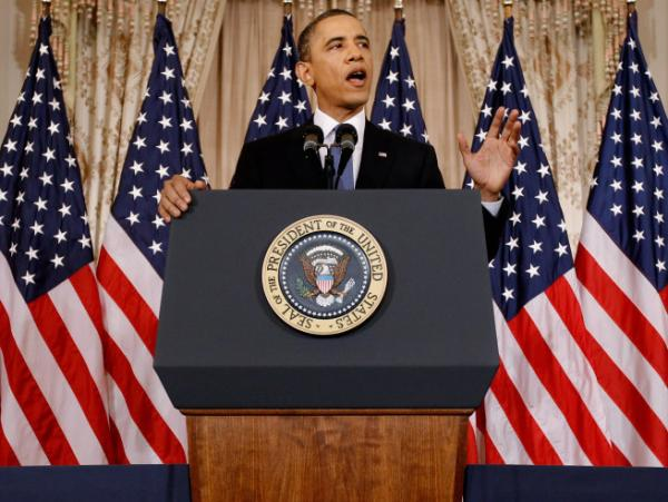 President Barack Obama delivers a speech on Mideast and North Africa policy in the Ben Franklin Room at the State Department May 19, 2011 in Washington, DC. The President says economic reform will be crucial to the spread of democracy throughout the region. (Getty Images)
