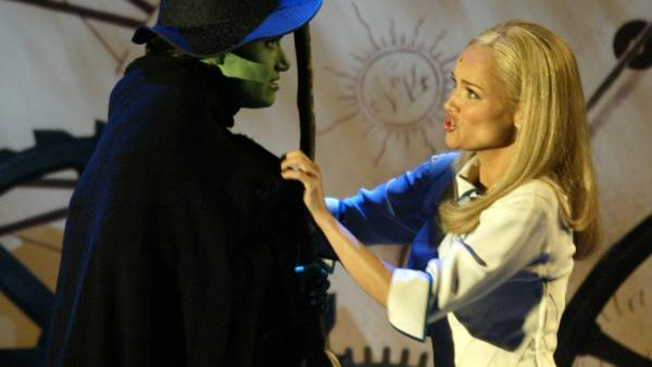Idina Menzel (left) and Kristin Chenoweth of <em>Wicked</em> perform during the 58th Annual Tony Awards.