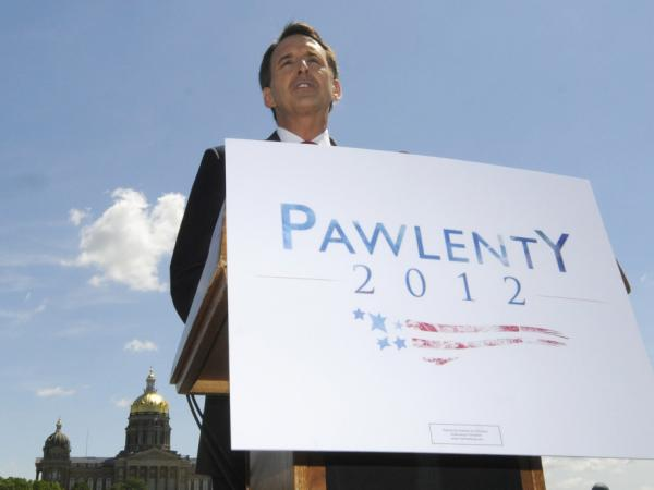 Former Minnesota Gov. Tim Pawlenty announces in Des Moines, Iowa, that he's running for president on Monday.
