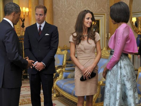 President Barack Obama and first lady Michelle Obama talked with Prince William, duke of Cambridge and Catherine, duchess of Cambridge at Buckingham Palace earlier today (May 24, 2011).