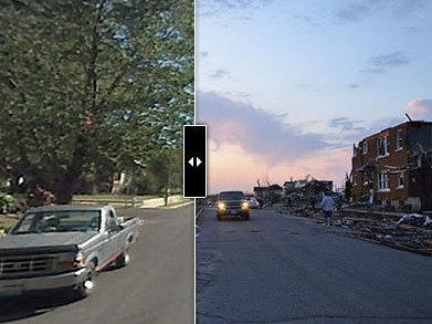 Interactive images provide a street view of Joplin, Mo., before and after the tornado.