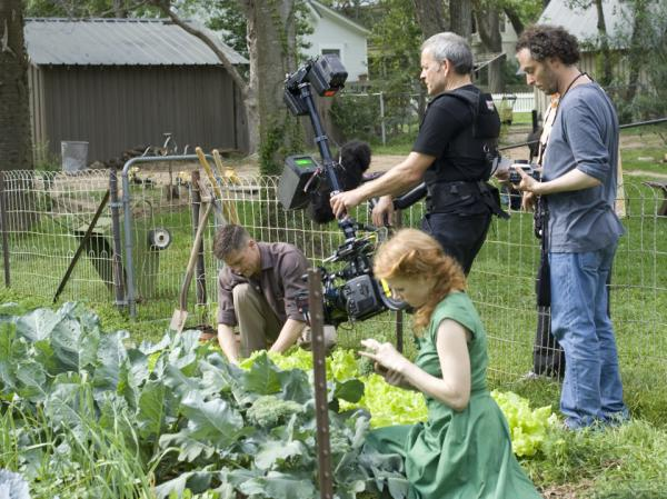 Filmmakers use hand-held cameras to capture the scenes of <em></em>Terrence Malick's <em>The Tree of Life</em>, starring Brad Pitt and Jessica Chastain.