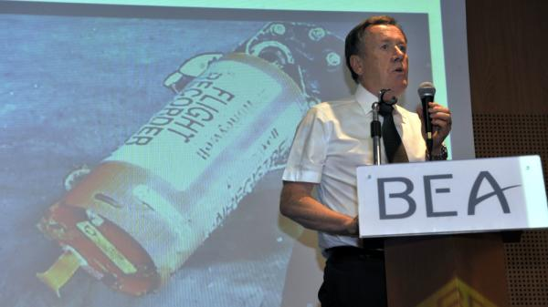 Alain Bouillard of France's air incident investigation bureau, held a news conference on May 12 near Paris. The agency, known as the BEA, released its first formal statement on the crash of Air France 447 on Friday.