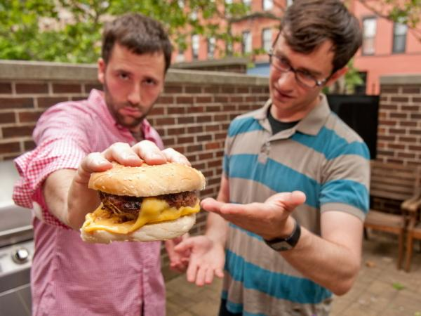 Dan Pashman's Cheeseburger With Cheese On The Bottom. (Jason Gardner for The Sporkful)