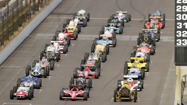 "Last October, 33 Indy 500-winning cars were lined up for a photo shoot at the Indianapolis Motor Speedway. Ray Harroun's Marmon ""Wasp,"" the official winner of the inaugural 1911 race, is in the front row at right."