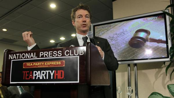 Sen. Rand Paul (R-KY) speaks during a Tea Party Town Hall meeting in February at the National Press Club in Washington. The freshman lawmaker is being hailed by civil libertarians for putting privacy concerns over the Patriot Act back in the spotlight.