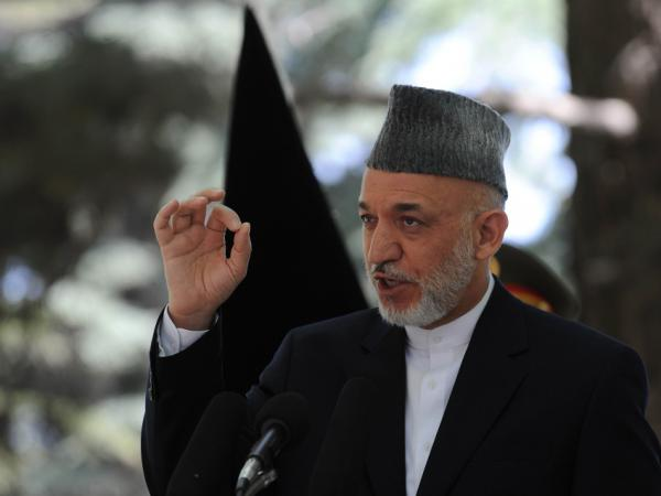 Afghan President Hamid Karzai speaking earlier today (May 31, 2011) at the Presidential Palace in Kabul.