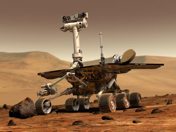 An artist's depiction of NASA's Spirit rover on the surface of Mars. Spirit became unresponsive in March 2010. NASA announced it had ended attempts to communicate with the rover on May 24, 2011.