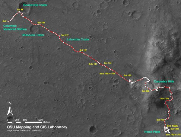 NASA hoped that Spirit would complete a 90-sol mission (90 Mars days). By 2010, Spirit had been operating for more than six Earth years, and had driven 4.8 miles — 12 times the planned distance — to visit craters and summit a distant hill. This map follows Spirit's path from its arrival in 2004 to Martian day 1506, in 2008.