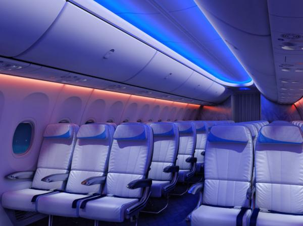 "The new ""Sky Interior"" of the Boeing 737 features LED adjustable lights that can mimic conditions outside the plane."