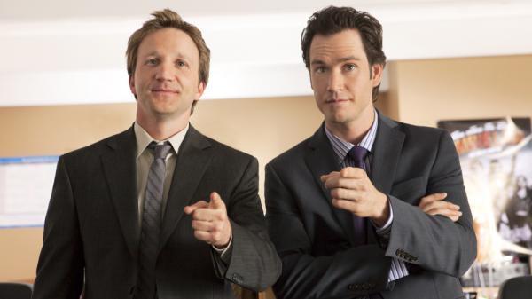 Breckin Meyer and Mark-Paul Gosselaar star in TNT's new lawyer show, <em>Franklin & Bash</em>.