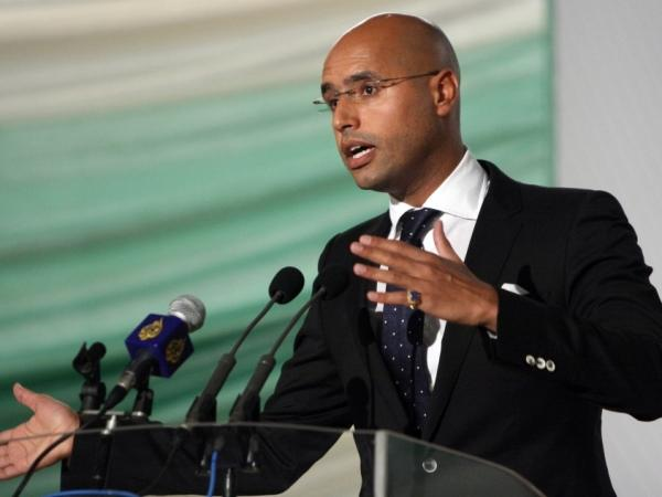 Saif al-Islam Gadhafi, son of Libyan leader Moammar Gadhafi, speaks during in the capital Tripoli in 2008.