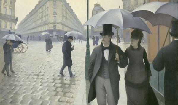 Impressionist paintings of Paris often depict a city full of sun-dappled  socialites: dancing, shopping, boating and schmoozing. But for painter  and art patron Gustave Caillebotte, Paris was a darker, lonelier place. His 1877 work, <em>Paris Street; Rainy Day, </em>shows Parisians making their way down a vast street on a dreary day. (Click enlarge to see the full painting.)