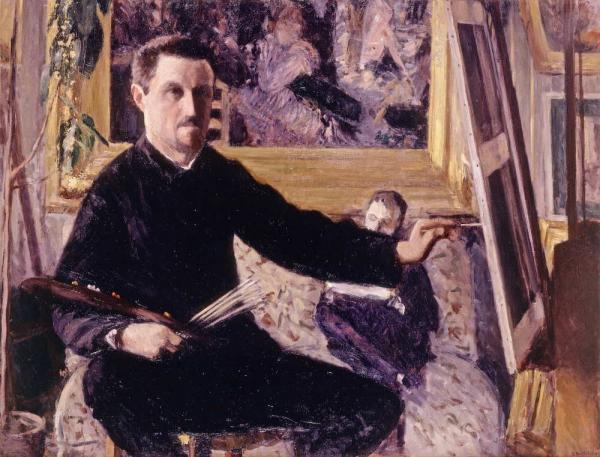 Caillebotte painted this self-portrait in 1879 at age 31. In the background, he has placed <em>Dance at Le moulin de la Galette</em>, painted three years earlier by his friend Pierre-Auguste Renoir. (See that painting by Renoir below.)<em></em>