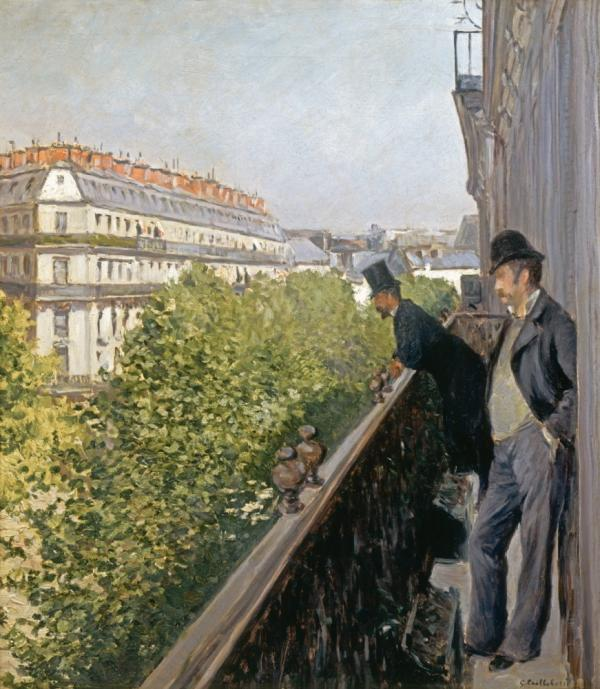 In Caillebotte's 1880 work, <em>Un  Balcon, </em>two men gaze <em>down</em> at Boulevard Haussmann below, yet still appear dwarfed by the street.