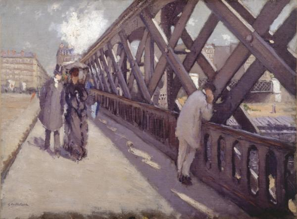 Many of Caillebotte's paintings depict the modernization of Paris. In his 1876 painting, <em>Le Pont de l'Europe</em>, pedestrians on a new bridge are engulfed by steel girders.