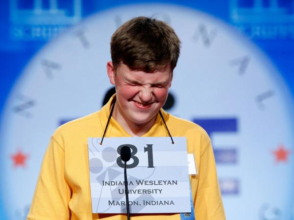 <strong>When Words Go Wild:</strong> Nathan J. Marcisz of Marion, Ind., thinks about an answer during last year's Scripps National Spelling Bee. Contestants often stumble over foreignisms that have silent vowels or odd roots, says Ben Zimmer.